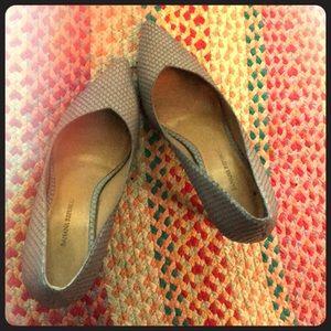 Blue-grey banana republic vegan snake skin heels